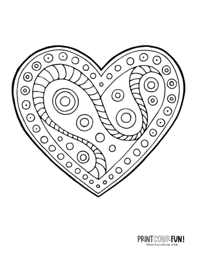 Creative abstract doodle heart coloring page (2)