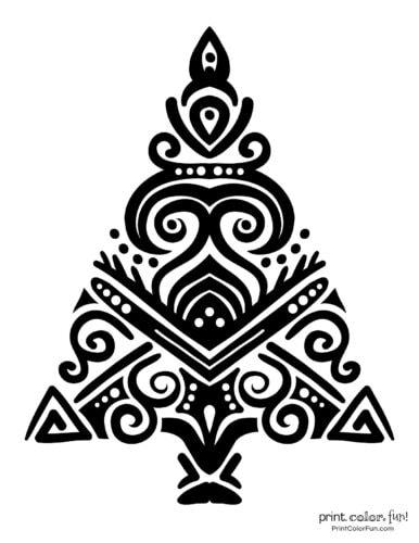Creative stylized Christmas tree decorative design (1)