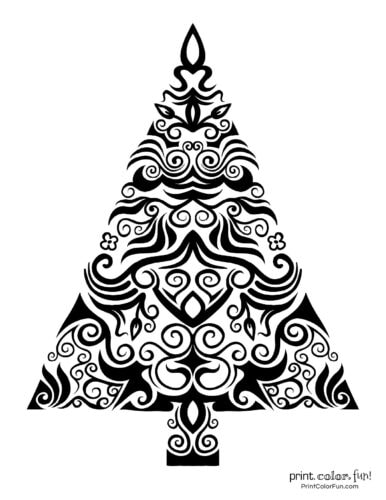 Creative stylized Christmas tree decorative design (2)