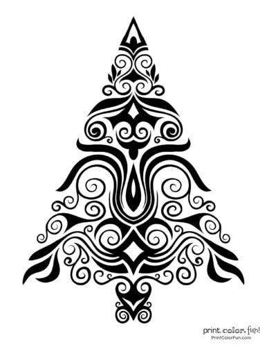 Creative stylized Christmas tree decorative design (3)