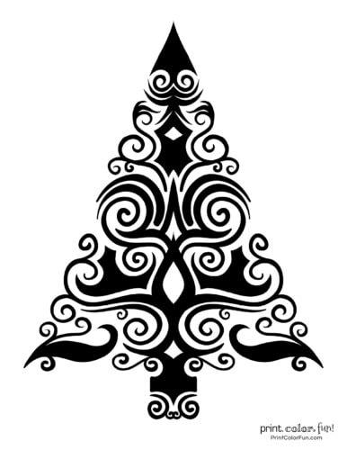 Creative stylized Christmas tree decorative design (4)