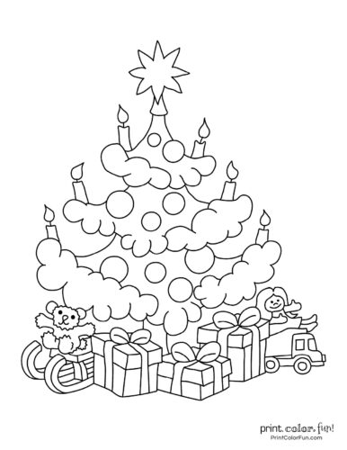 Cute Christmas tree with gifts for kids