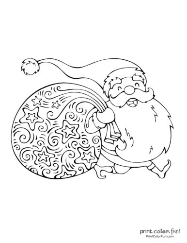 Cute Santa Claus Christmas coloring pages (12)