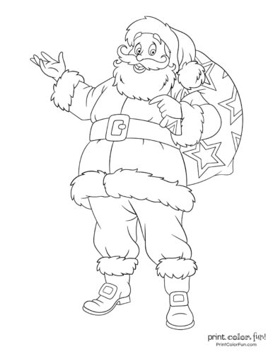 Cute Santa Claus Christmas coloring pages (5)