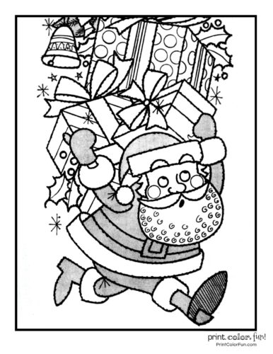 Cute Santa Claus Christmas coloring pages (6)