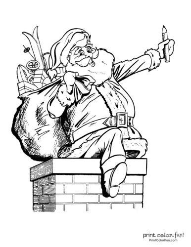 Cute Santa Claus Christmas coloring pages (7)