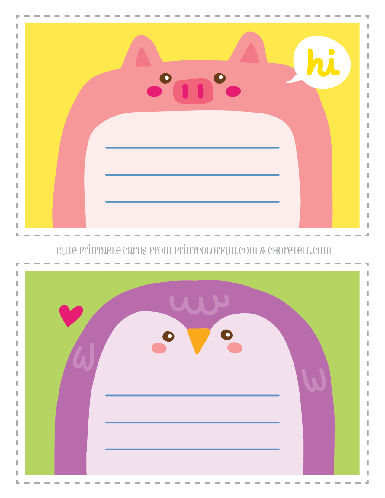 Adorable Animal Notecards For Kids Pig Amp Penguin Coloring