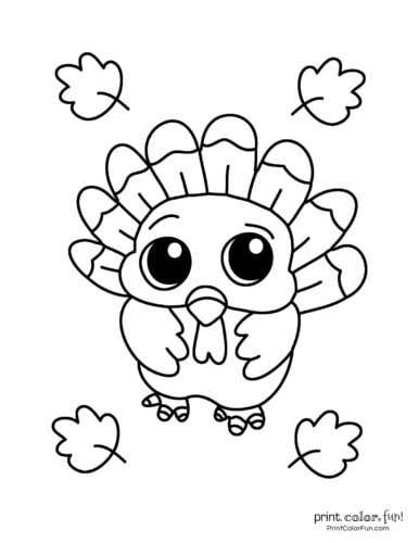 Cute baby turkey printable page