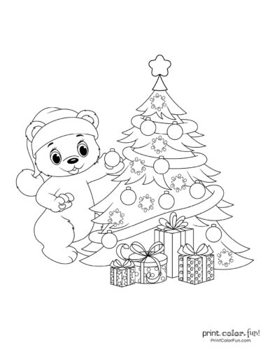 Cute bear and Christmas tree coloring page