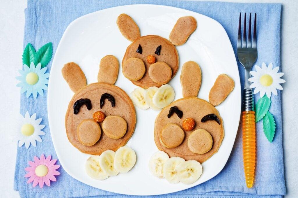 Cute bunny rabbit pancakes with bananas - Fun breakfast for kids