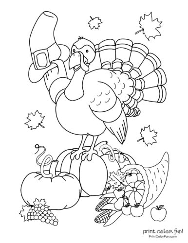 Cute cartoon Turkey coloring page