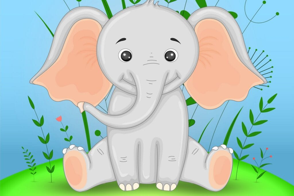 cute cartoon elephant coloring pages