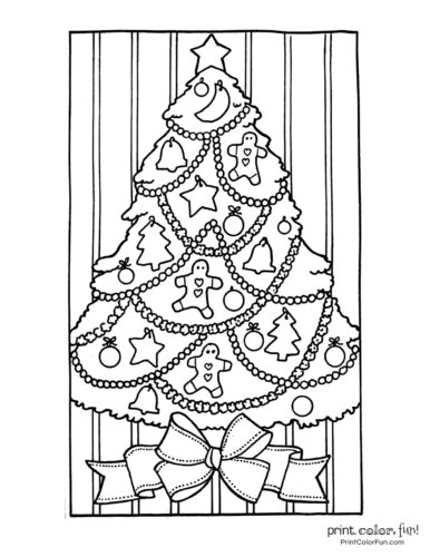 Cute decorated Christmas tree with gingerbread men ornaments