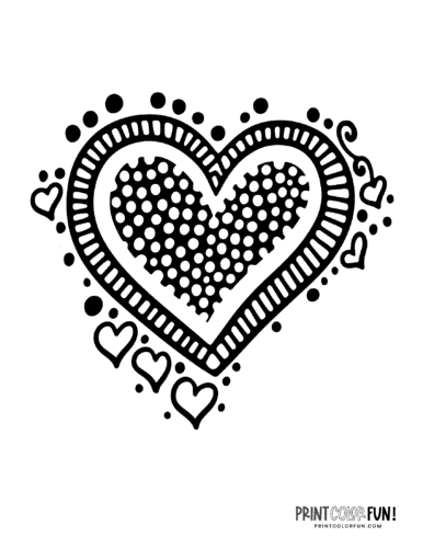 Cute decorative doodle heart pattern coloring page (3)