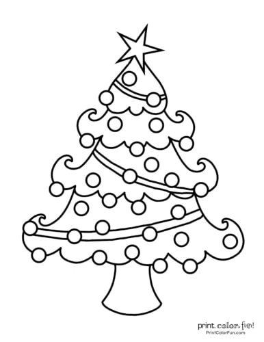 Cute easy-to-color Christmas tree printable