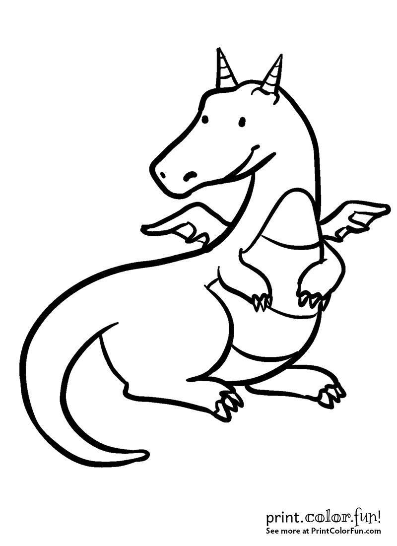 Cute Happy Dragon Coloring Page Print Color Fun