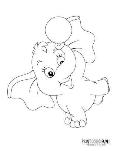 Cute printable elephant coloring page