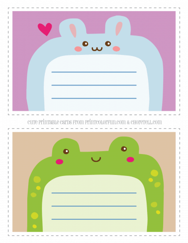 Cute printable notecards for kids