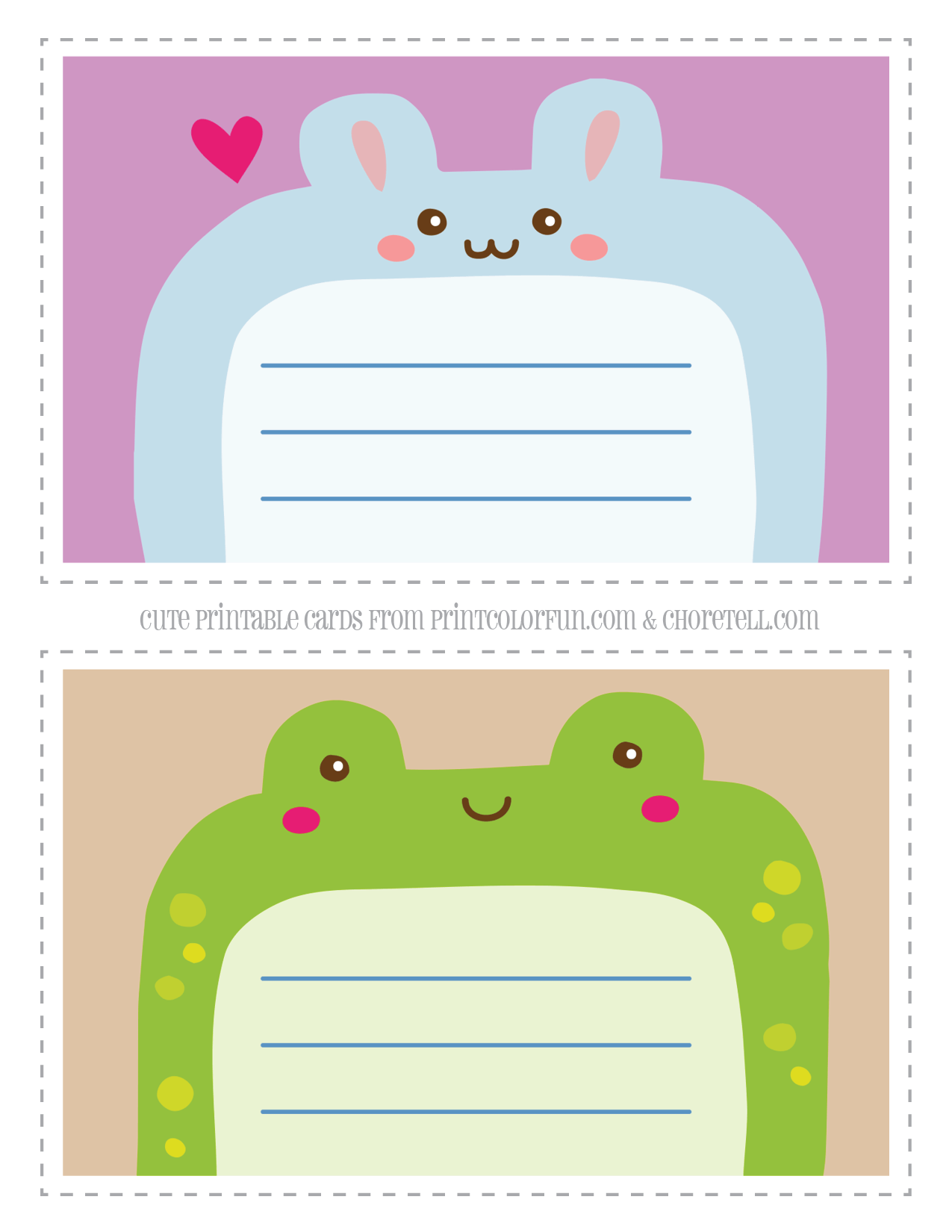 Cute Printable Animal Notecards For Kids Rabbit Amp Frog