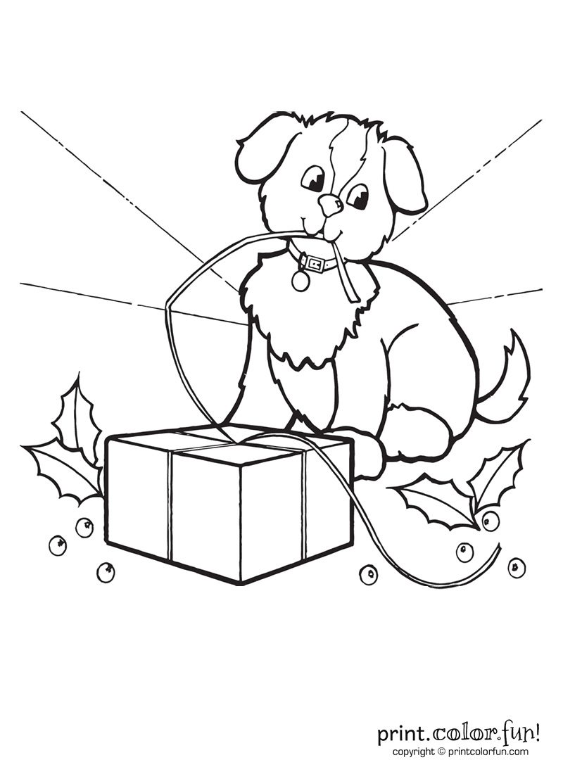 Cute Puppy At Christmas Coloring Page Print Color Fun
