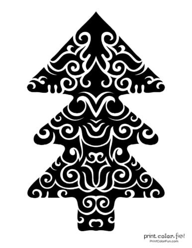 Dark abstract Christmas tree printable decoration (6)