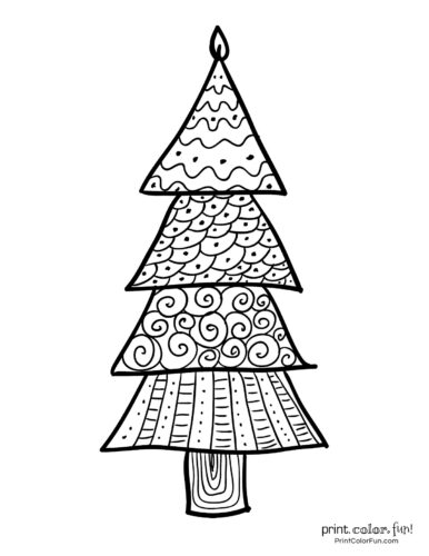 Decorative Christmas tree coloring page