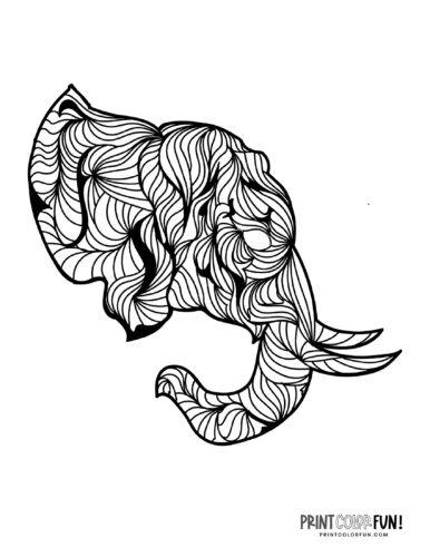 Decorative elephant coloring pages (1)