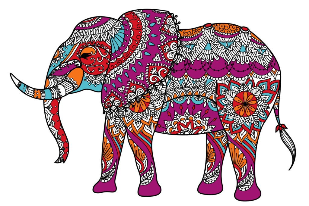 Decorative elephant coloring pages
