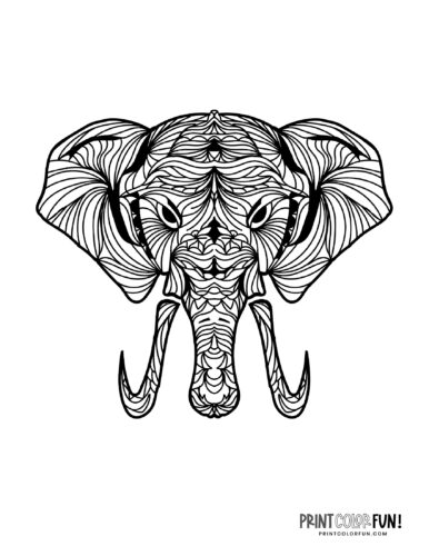 Decorative elephant coloring pages (2)