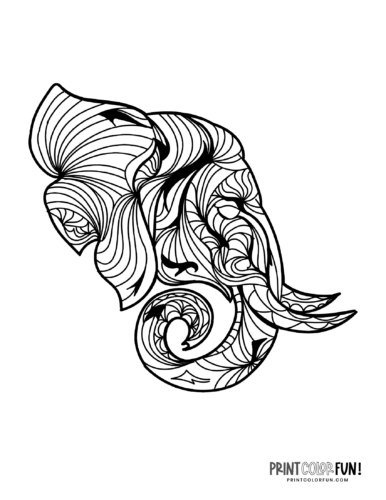 Decorative elephant coloring pages (3)