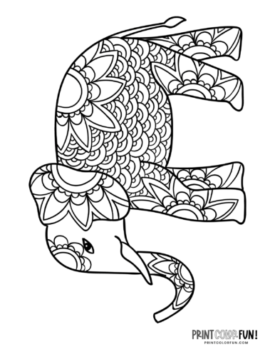 Decorative elephant coloring pages (4)