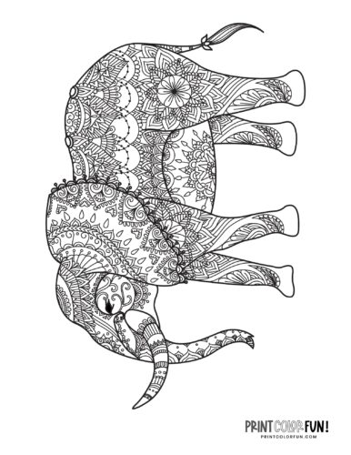 Decorative elephant coloring pages (5)