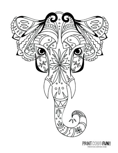 Decorative elephant coloring pages (7)
