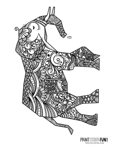 Decorative elephant coloring pages (8)