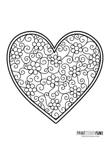 Decorative heart coloring page - zen doodles (2)