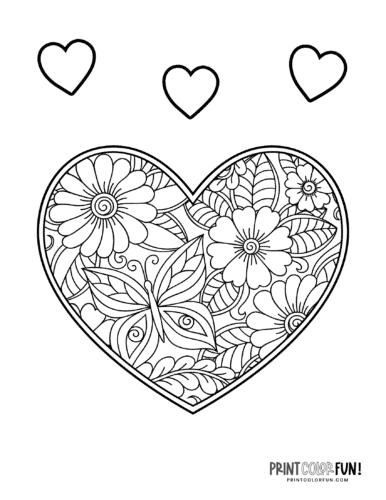 Decorative heart coloring page - zen flower pattern