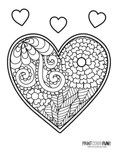 Decorative heart coloring page - zen doodle floral