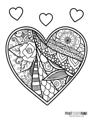 Decorative heart coloring page - zen flowers