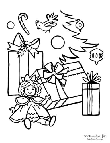 Doll and gifts under a Christmas tree