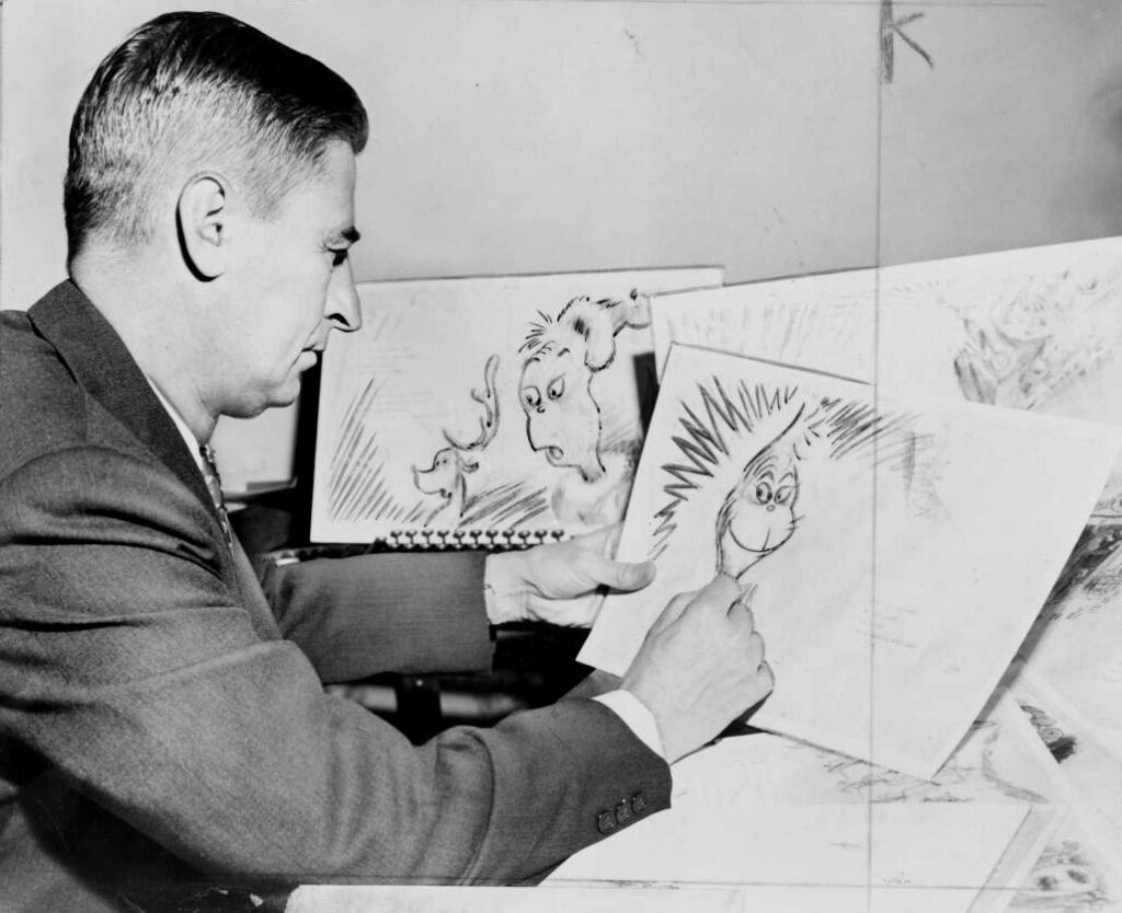 Dr Seuss Ted Geisel drawing a grinch 1957