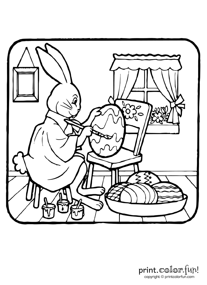 Easter-bunny-painting-eggs