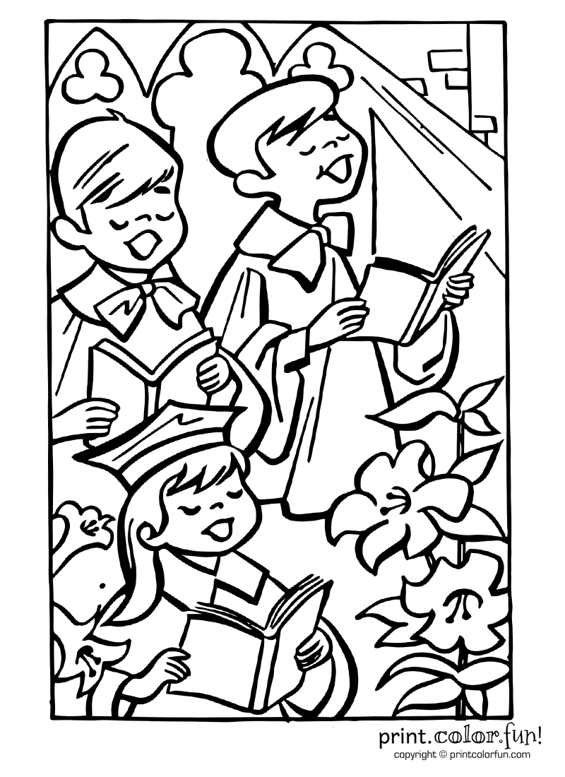 Easter Choir Coloring Page Print Color Fun