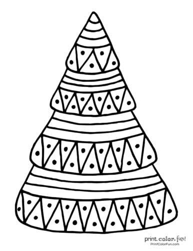 Easy Christmas tree coloring page printable