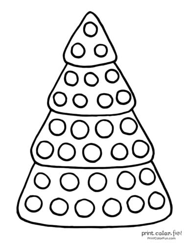 Easy Christmas tree coloring page with big circle ornaments
