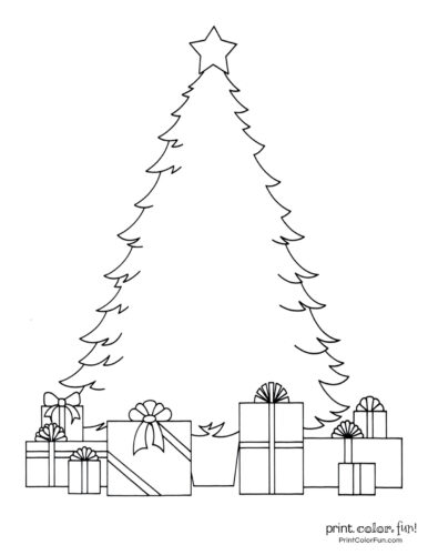 Easy blank Christmas tree coloring page for kids