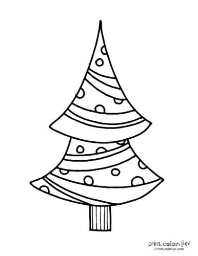 Easy-to-color Christmas tree design