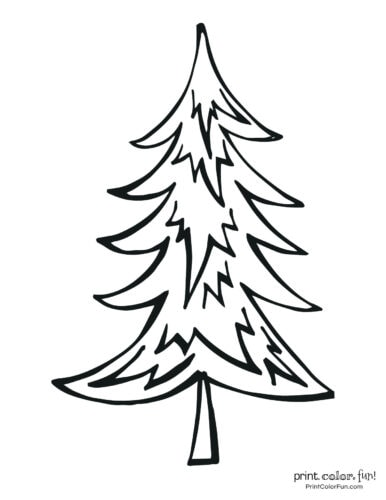 Easy-to-color blank Christmas tree with branches