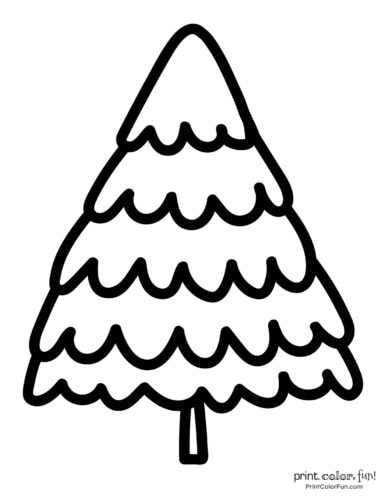 Easy-to-color printable Christmas tree picture