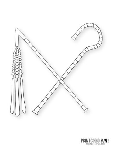 Egyptian crook and flail coloring page