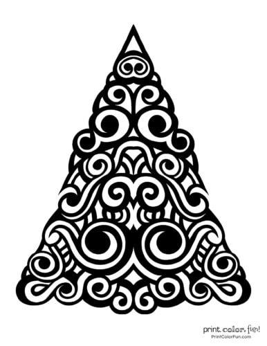 Fancy abstract Xmas tree printable decoration (1)